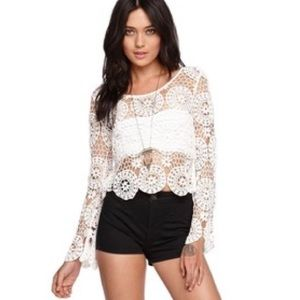 Crochet long sleeve top by Kendall & Kylie